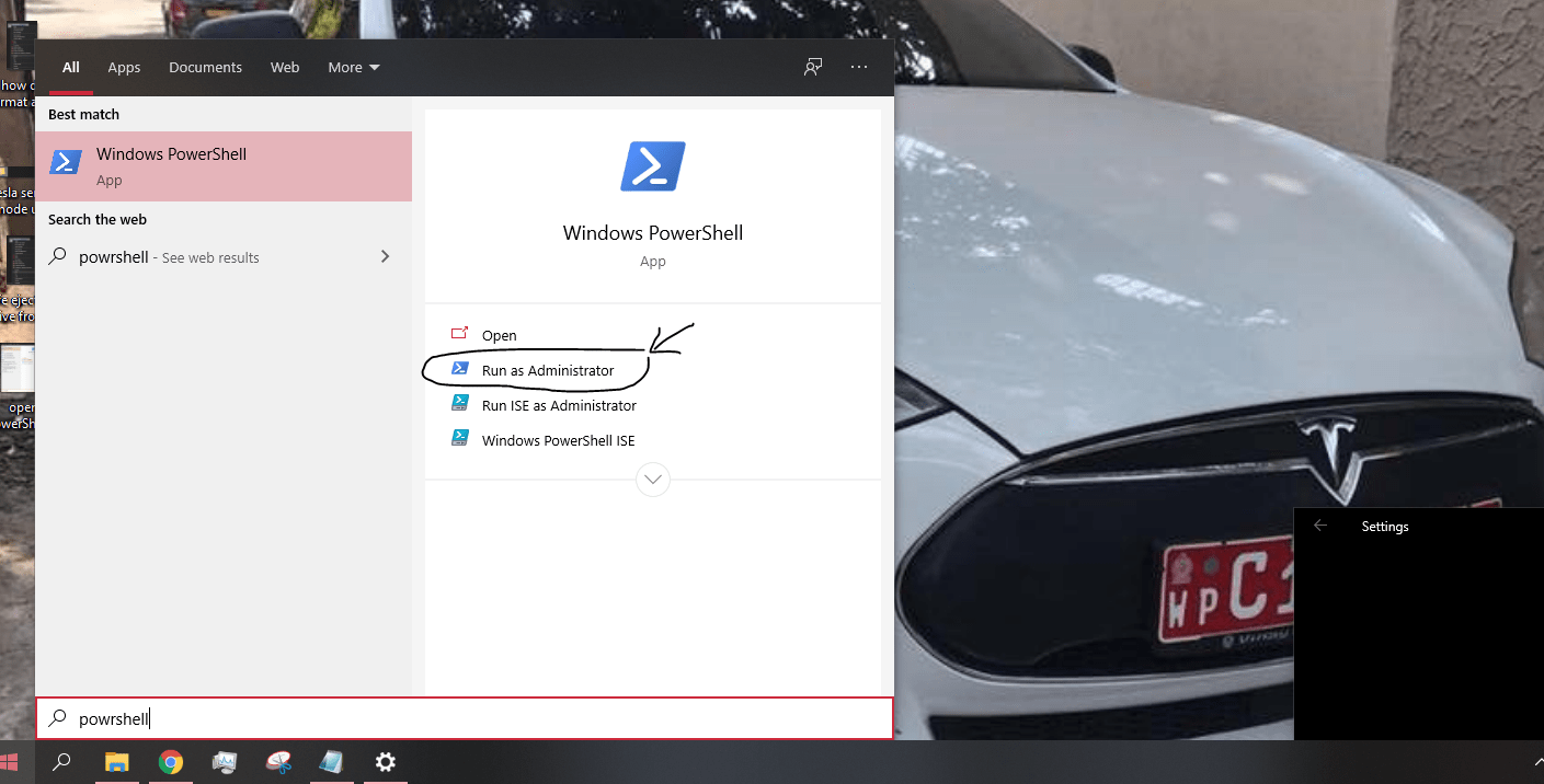 open PowerShell to format usb drive for Tesla sentry mode and dashcam