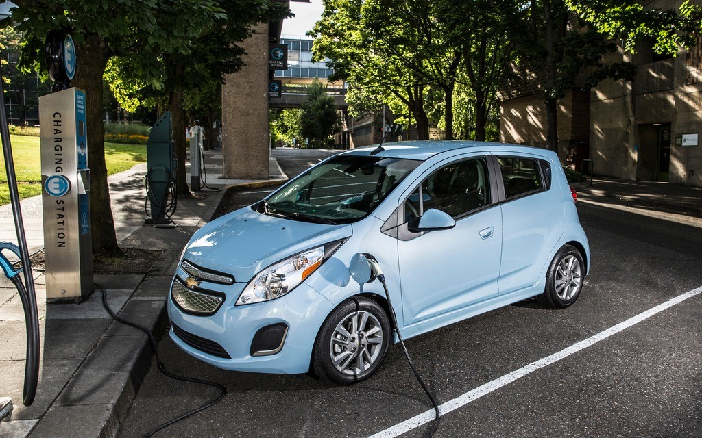 Chevy Spark EV in a Charging Station