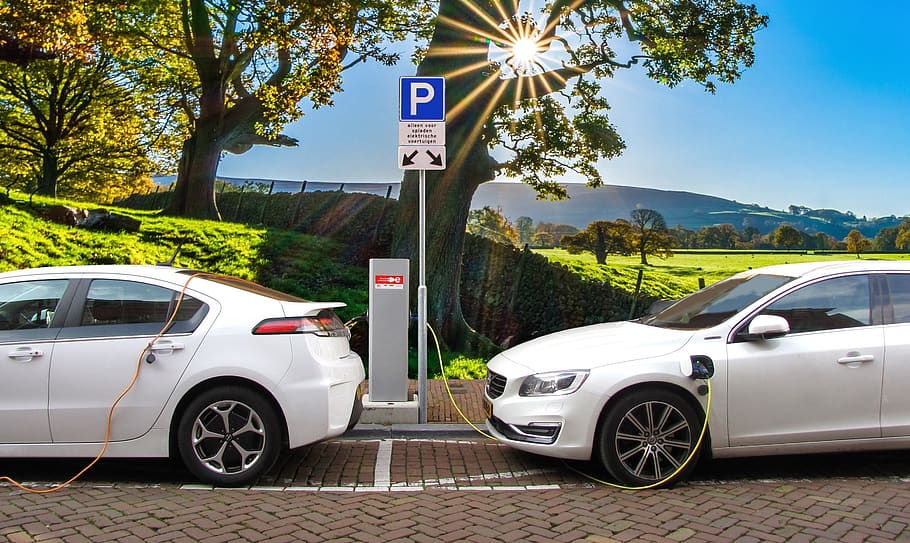 Electric Cars in a Charging Point