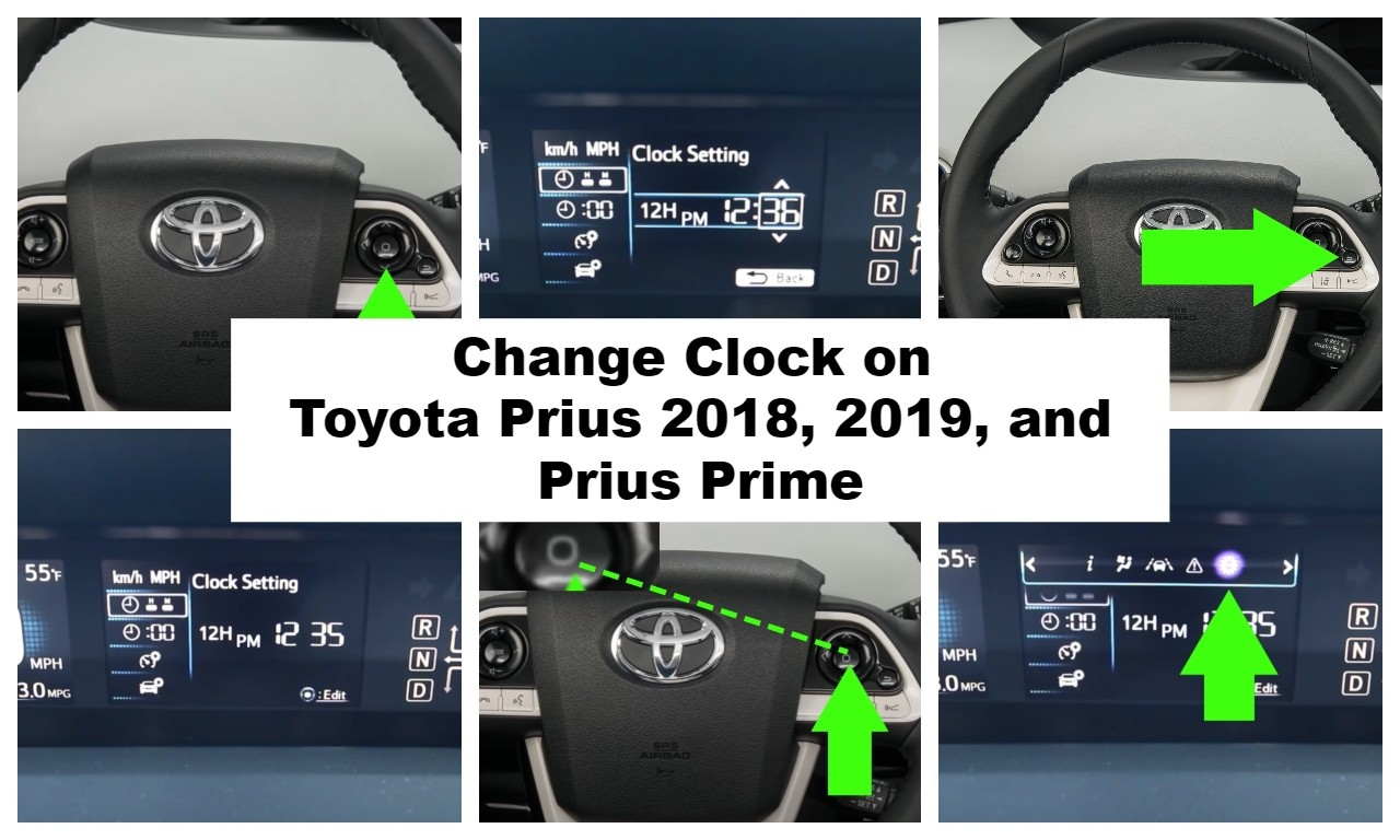 Change Clock on Toyota Prius 2018, 2019, and Prius Prime Car Models